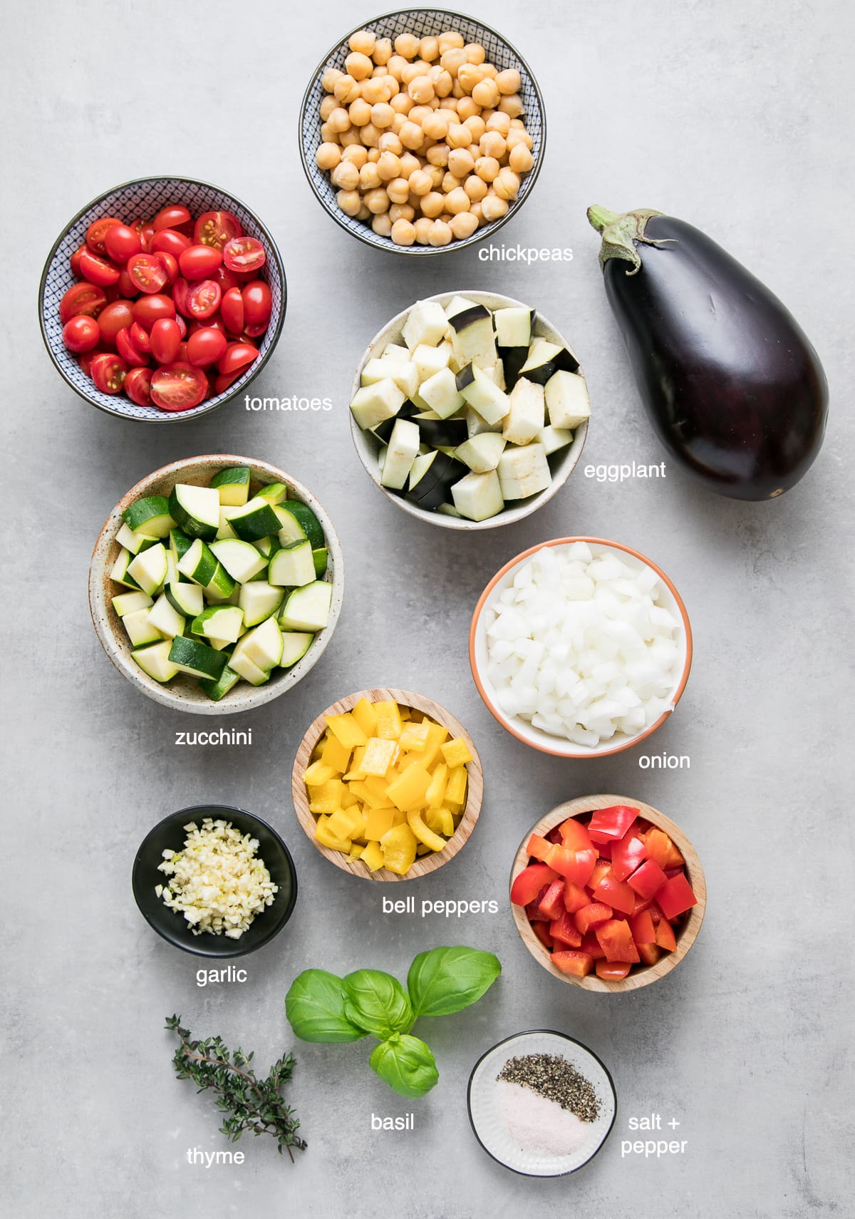 top down view of ingredients used to make chickpea ratatouille.