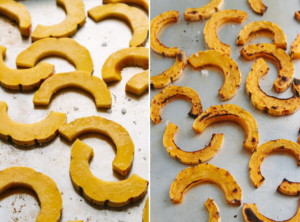 side by side photos showing the process of roasting delicata squash fries.