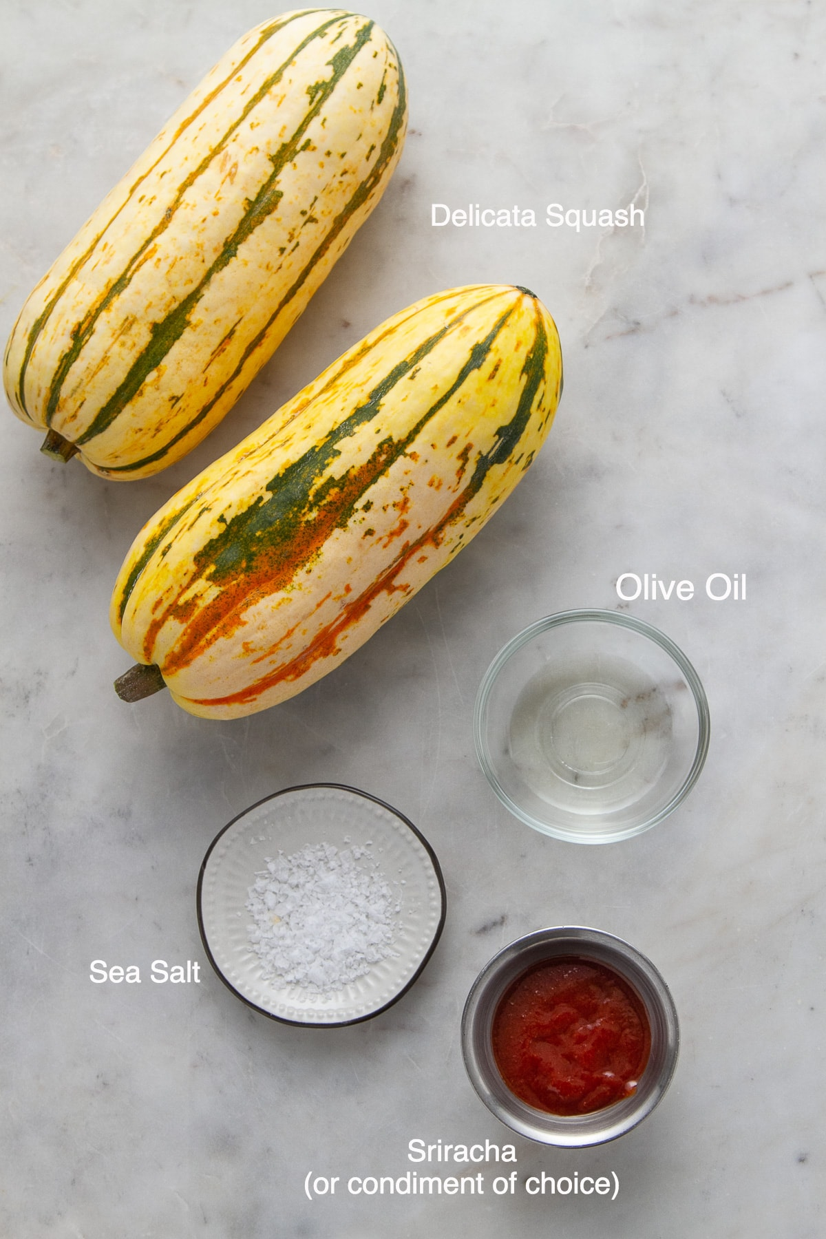 top down view of ingredient needed to make delicata squash fries.
