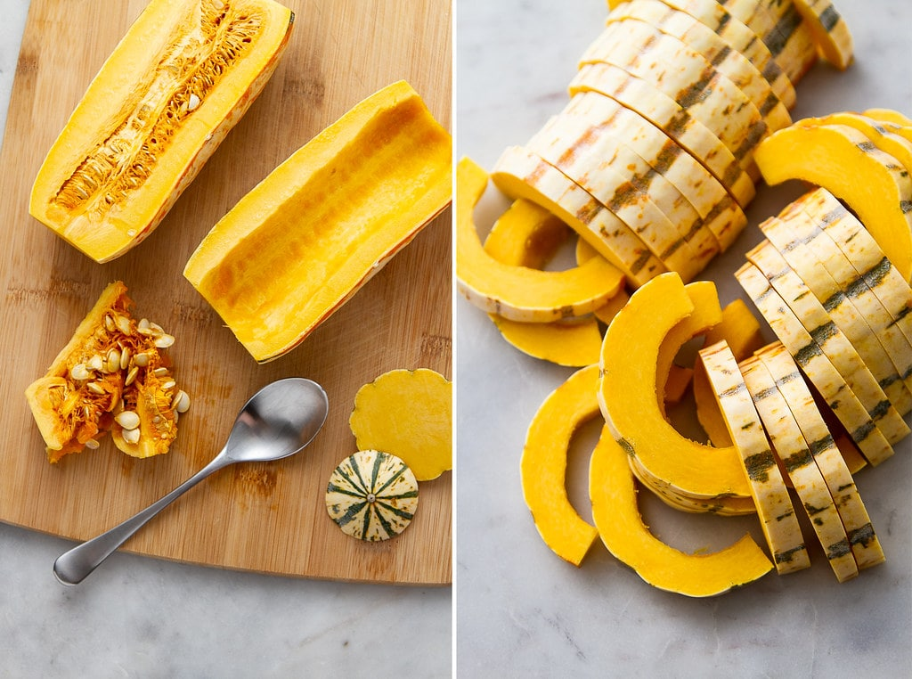side by side photos showing the process of prepping delicata squash for roasting into squash fries.