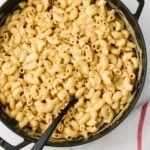 top down view of freshly spicy made vegan mac and cheese recipe with nutritional yeast.