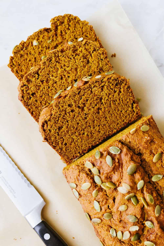 healthy vegan pumpkin bread sliced