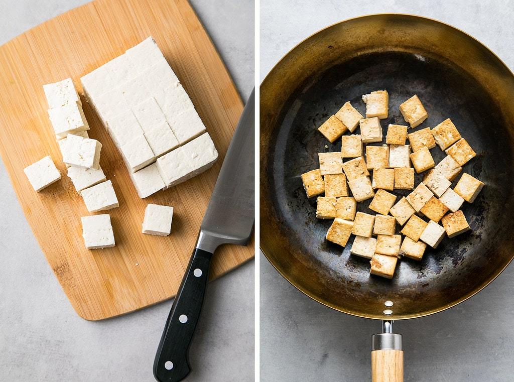 side by side photos showing the process of cutting and cooking tofu.