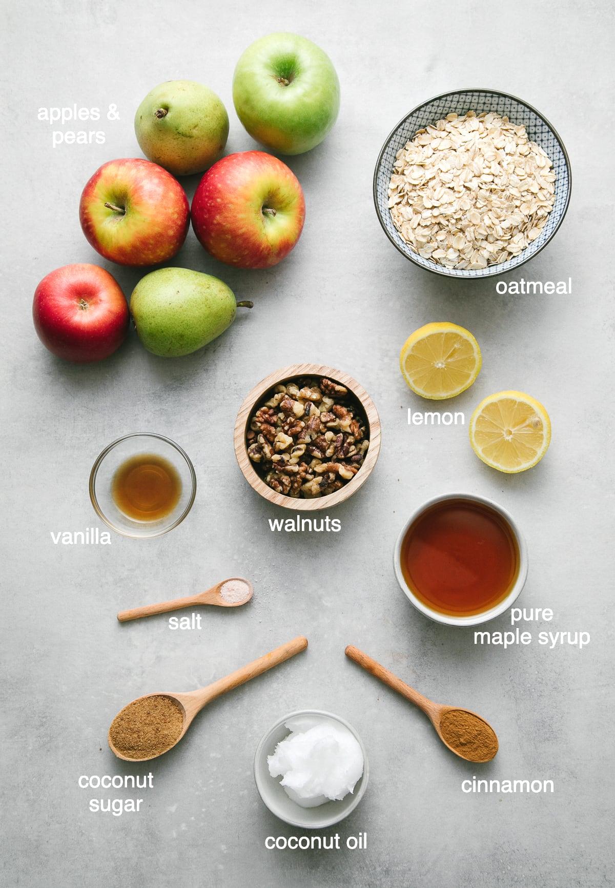 top down view of ingredients used to make healthy, vegan apple pear crisp.