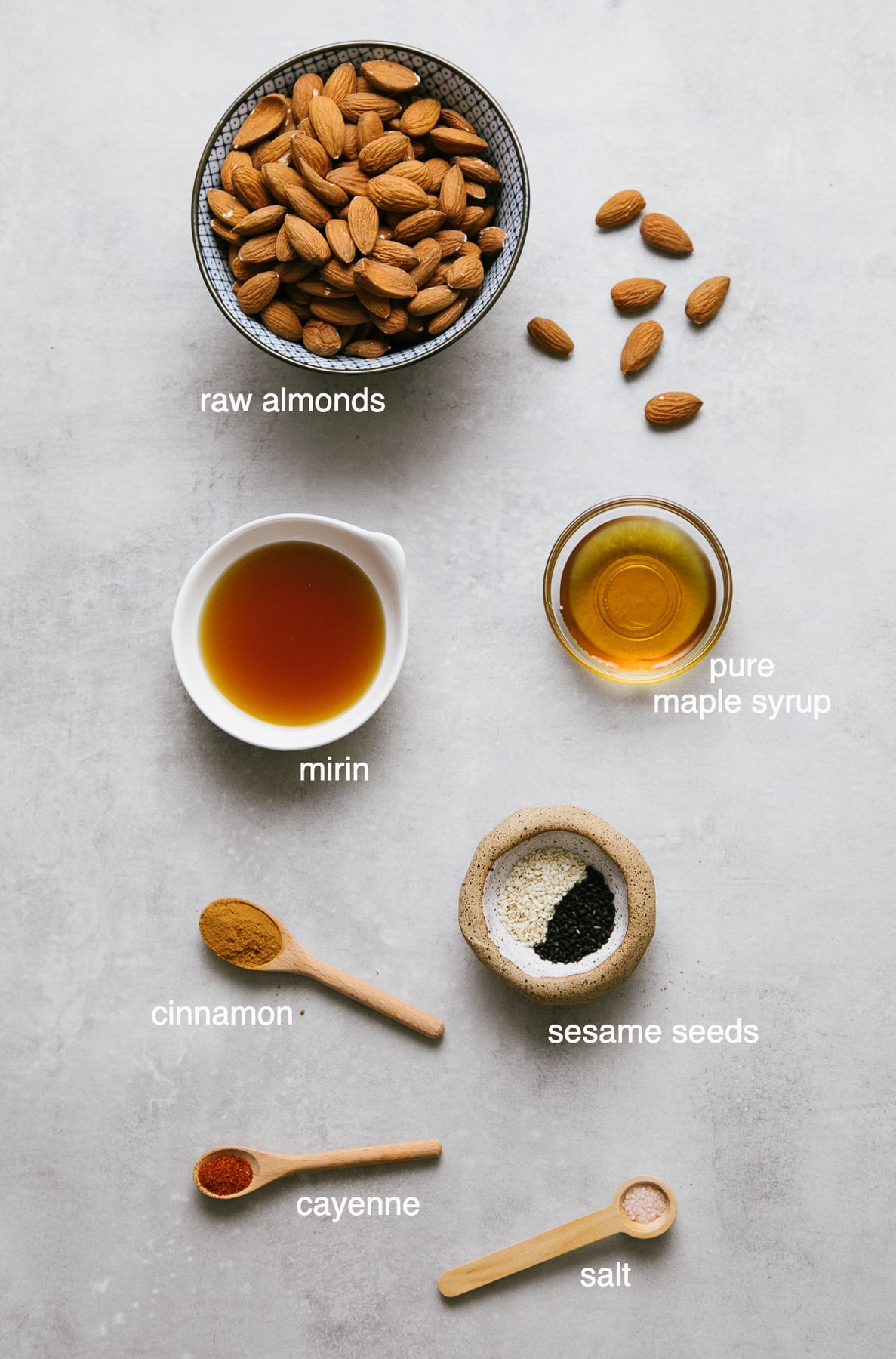 top down view of ingredients used to make mirin maple roasted almonds recipe.