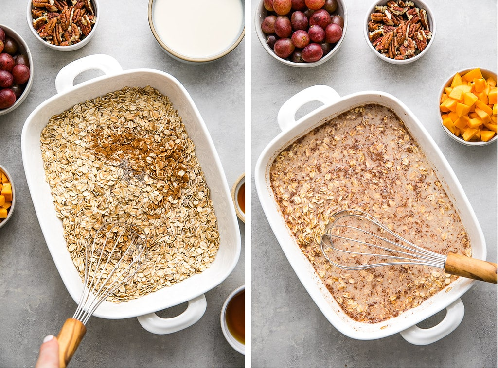side by side photos showing the process of making healthy baked oatmeal.