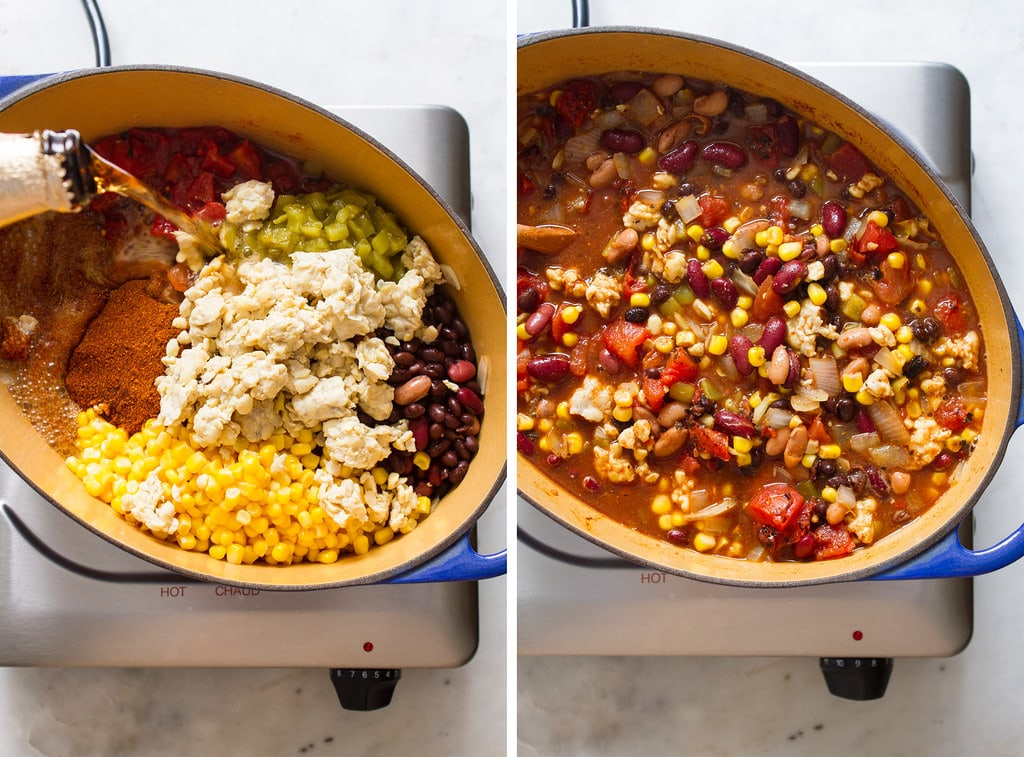 side by side photos showing the process of making tempeh chili.