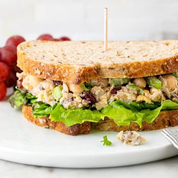 head on view of healthy vegan chicken salad sandwich on a plate with items surrounding.