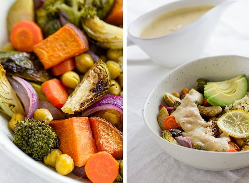 roasted vegetable & chickpea bowl with lemony cannellini sauce