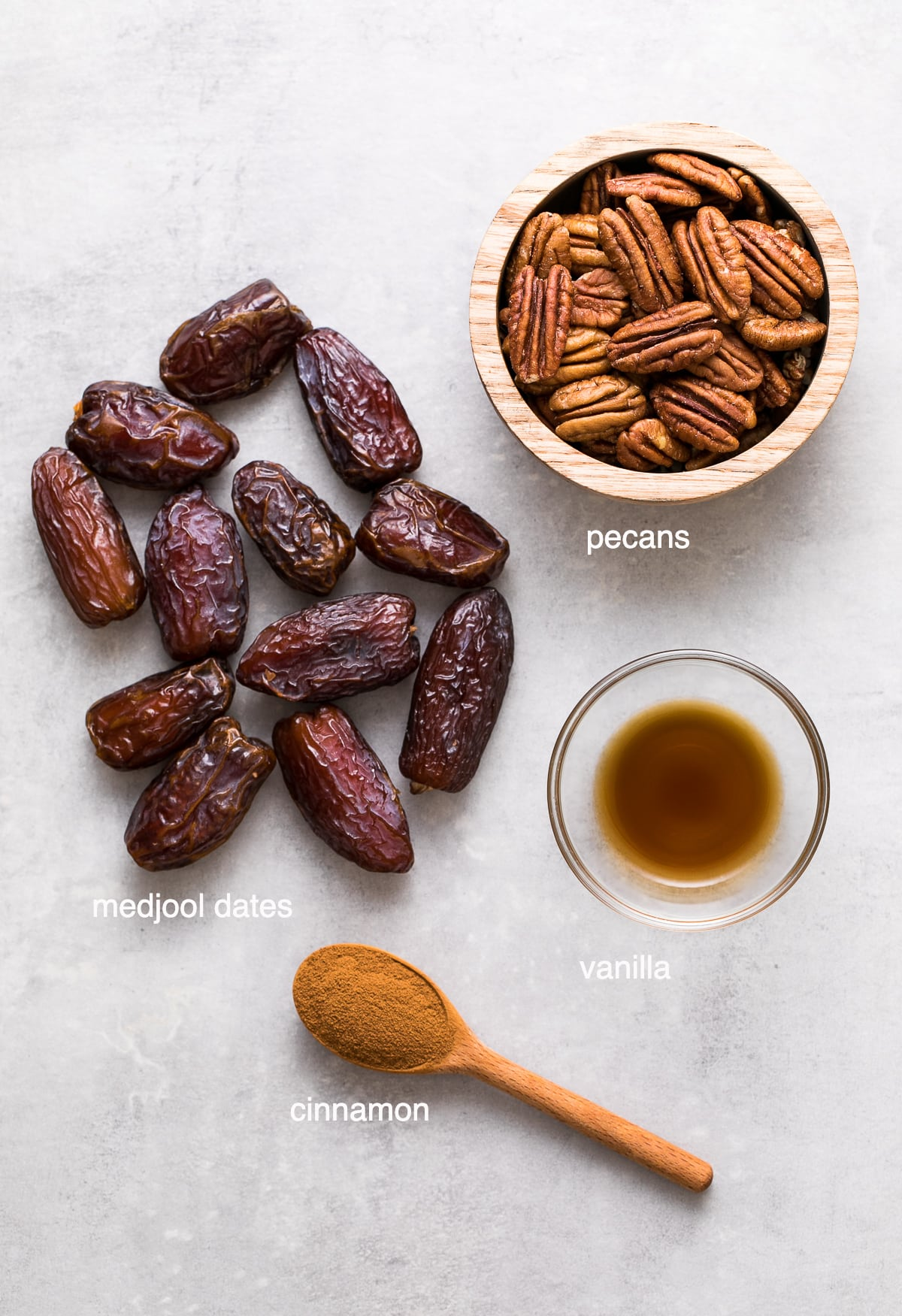 top down view of ingredients used to make pecan pie energy balls.