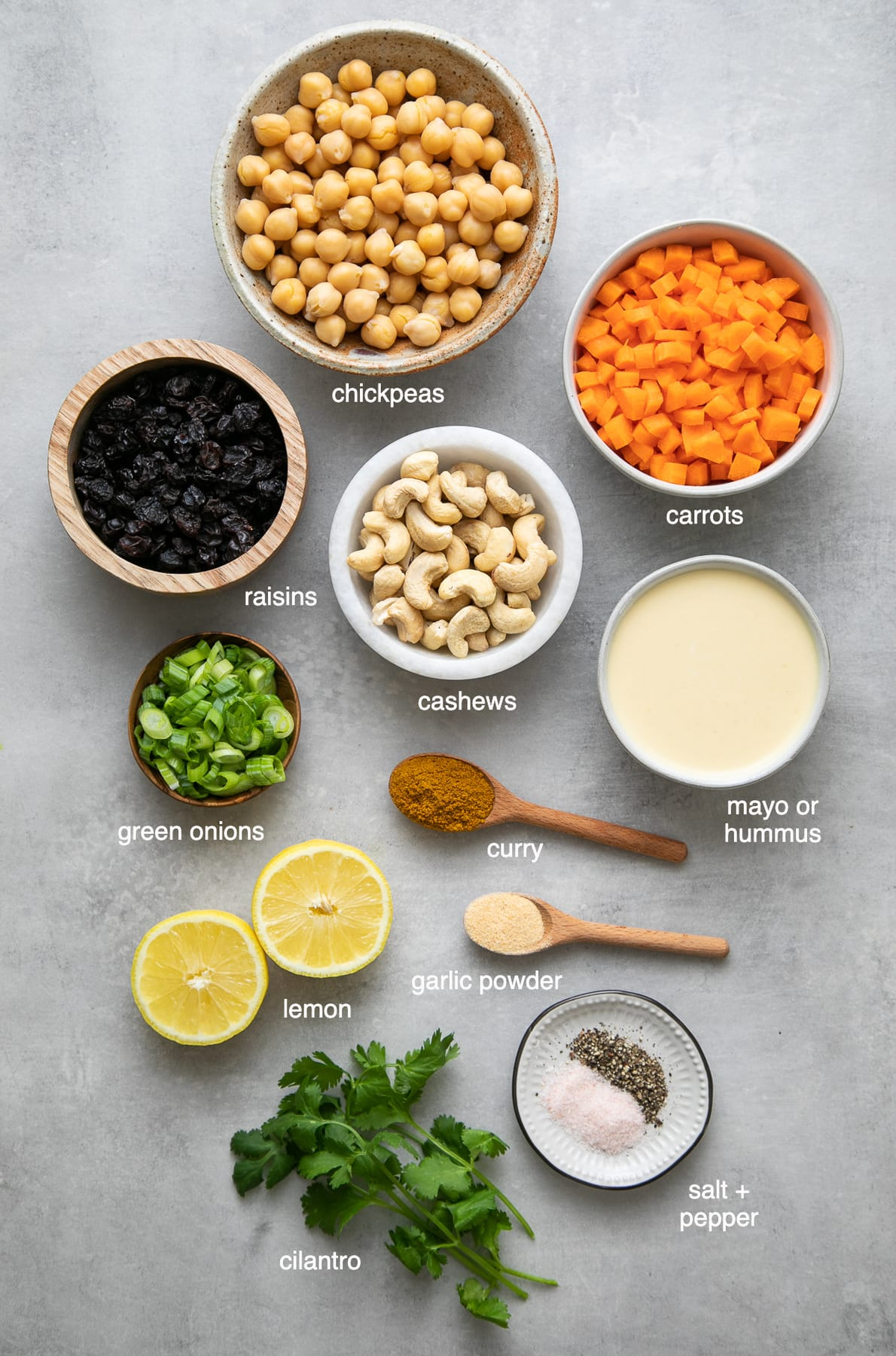 top down view of ingredients used to make healthy curried chickpea salad.