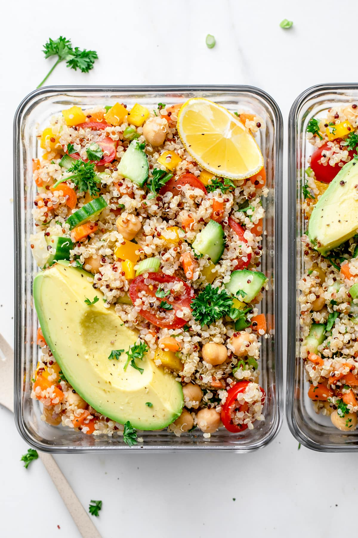 top down view of meal prepped lemon quinoa chickpea salad.