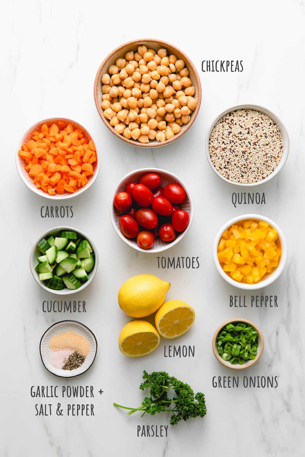 top down view of ingredients used to make healthy vegan lemon quinoa chickpea salad.