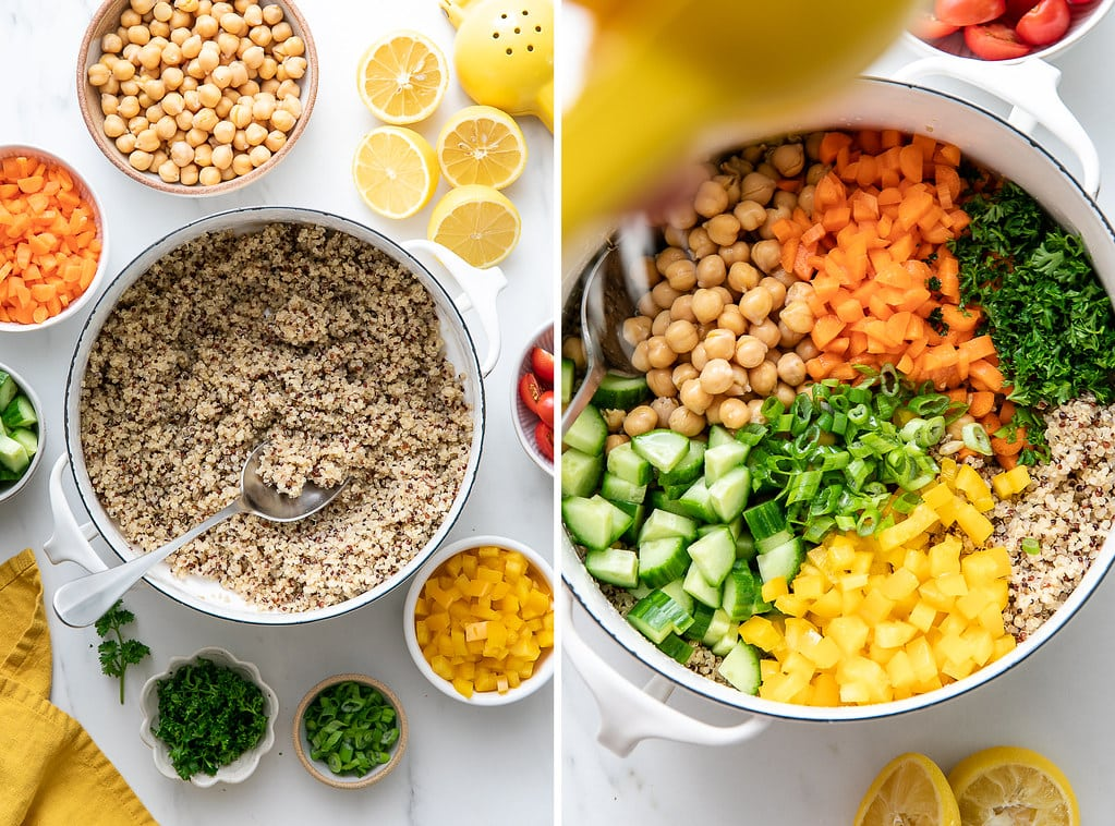 side by side photos showing the process of assembling lemon chickpea quinoa salad.