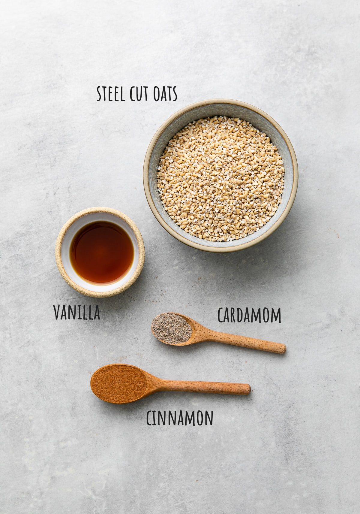 top down view of ingredients used to make overnight steel cut oats recipe.