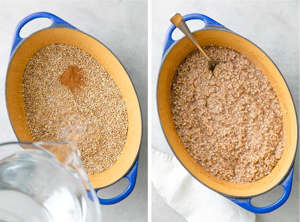 side by side photos showing the process of making overnight steel cut oats in a pot.
