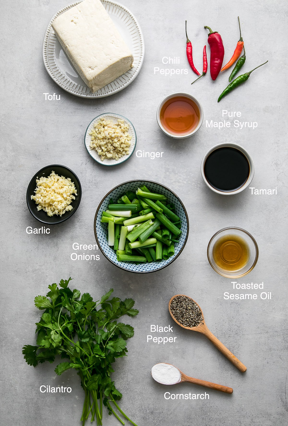 top down view of ingredients used to make black pepper tofu.
