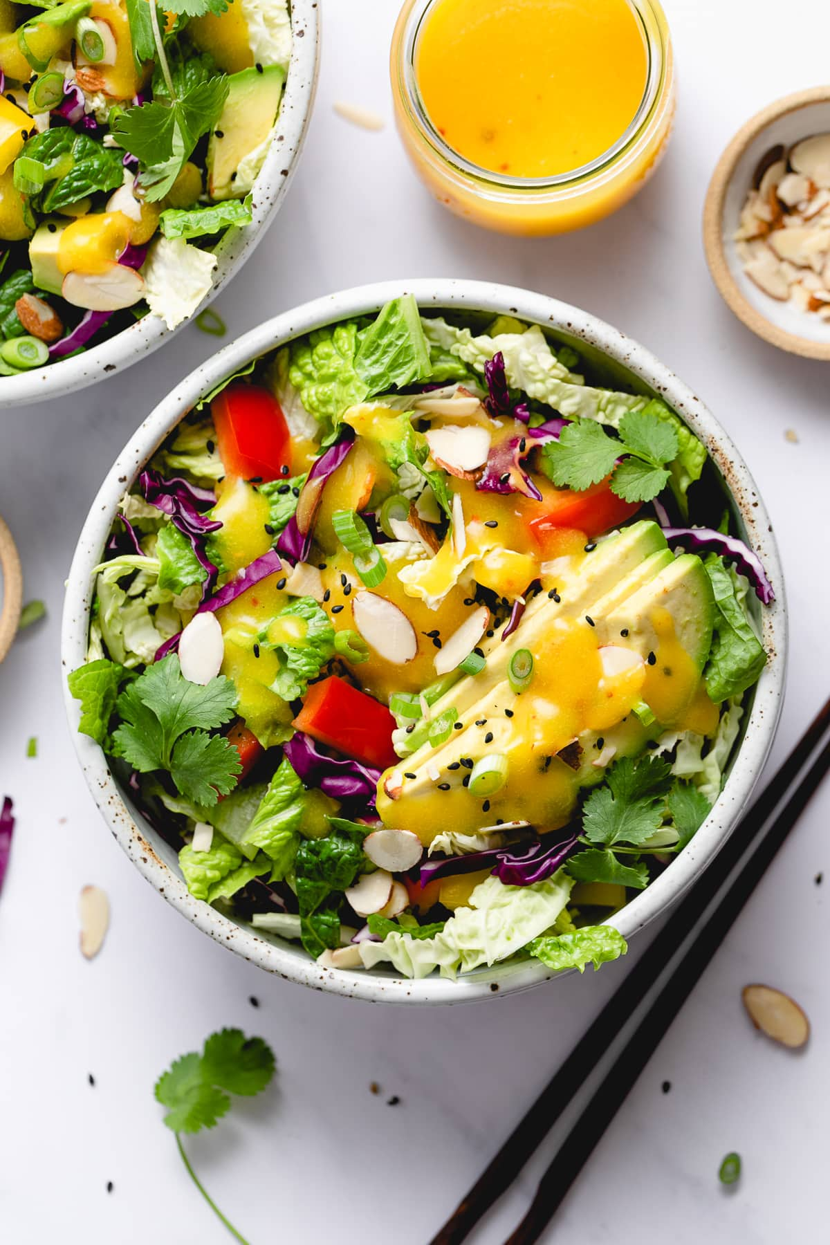 top down view of rainbow chop chop salad in a bowl with items surrounding.