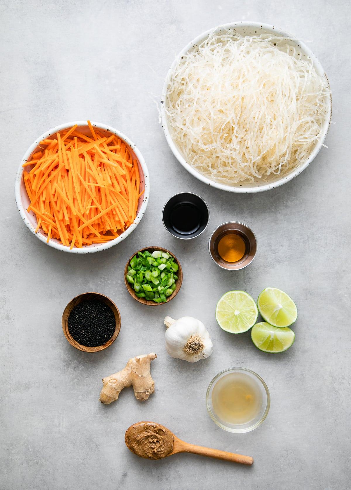 top down view of ingredients used to make healthy kelp noodle salad.
