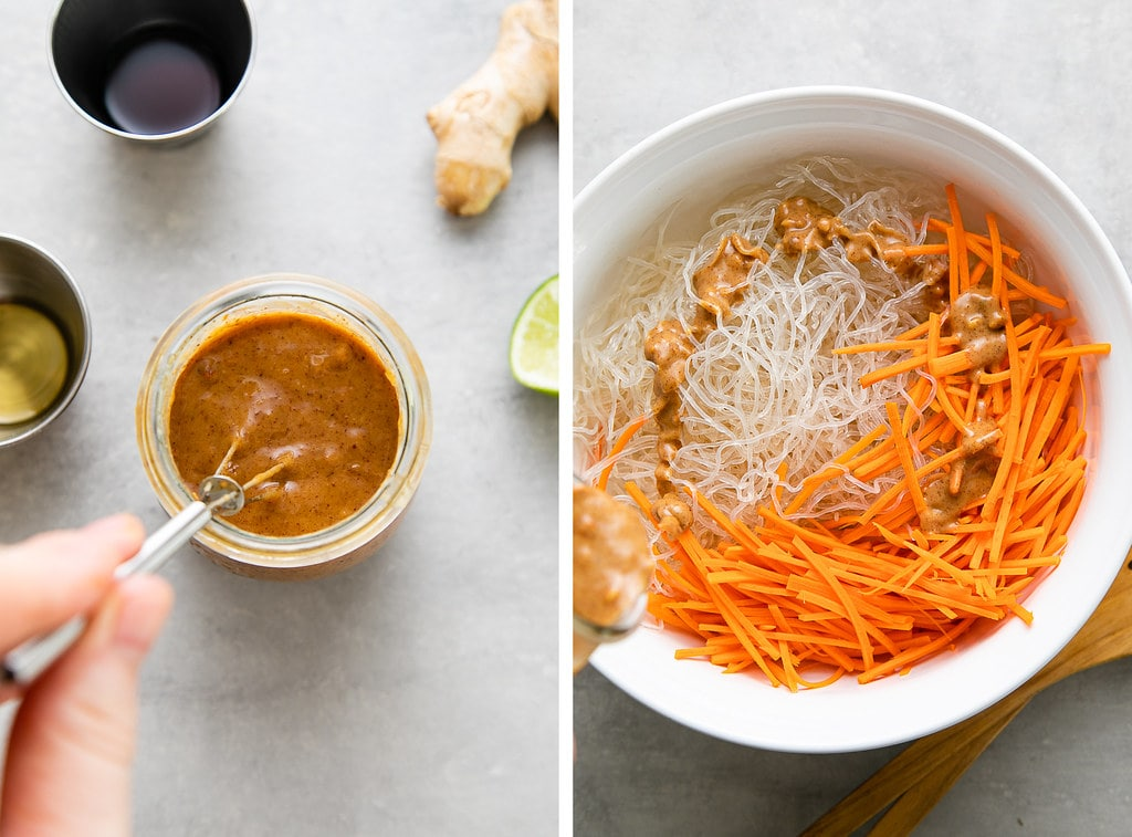 side by side photos showing the process of making kelp salad noodle salad with peanut dressing.