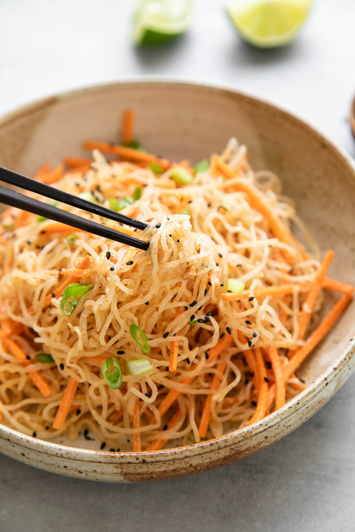 side angle view of serving of kelp noodle salad in bowl with chopsticks holding noodles.
