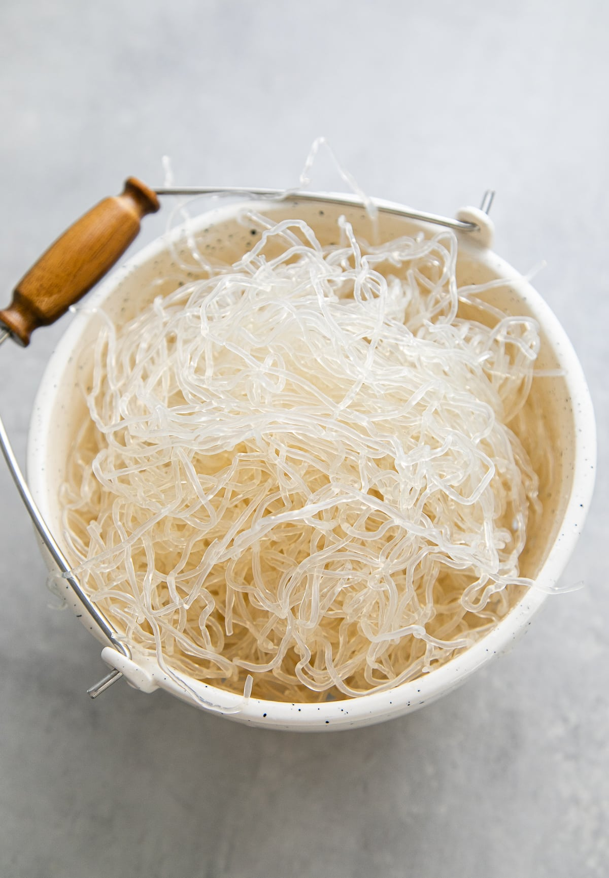 top down view of kelp noodles in a colander.