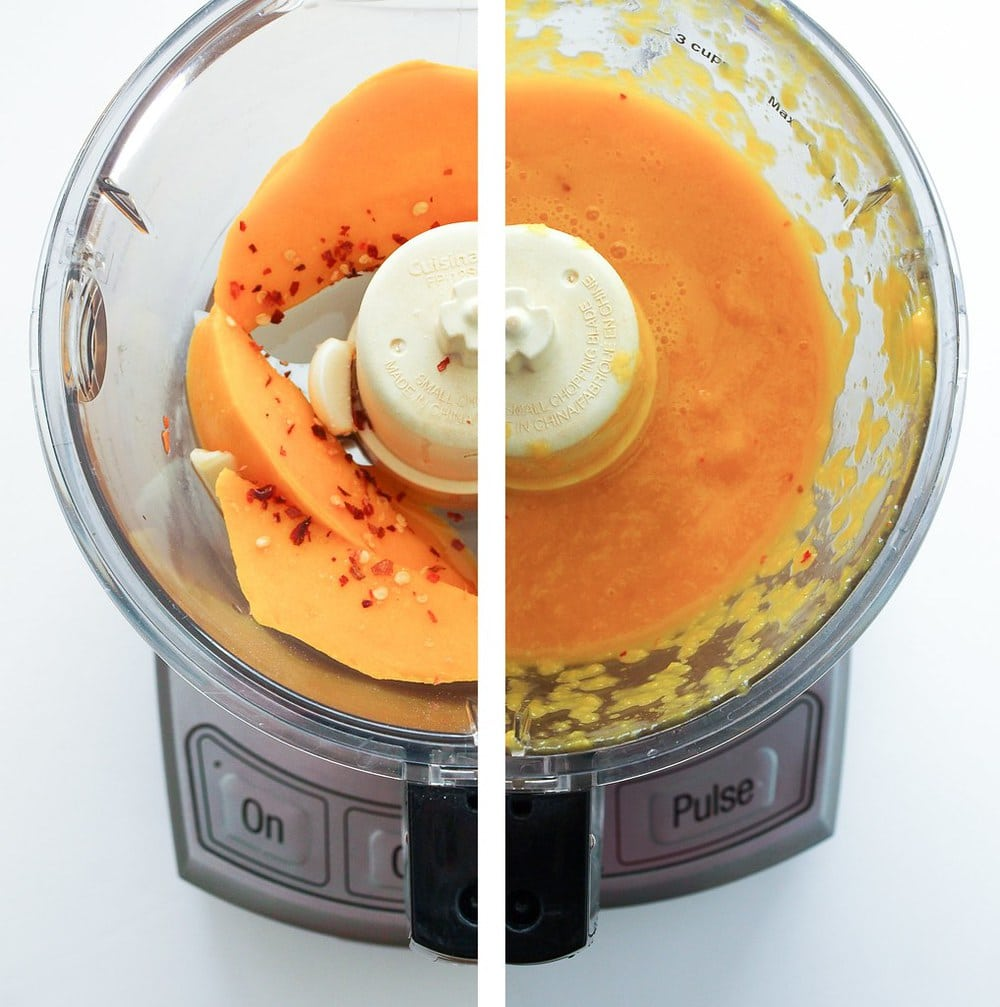 mango dressing being made in food processor