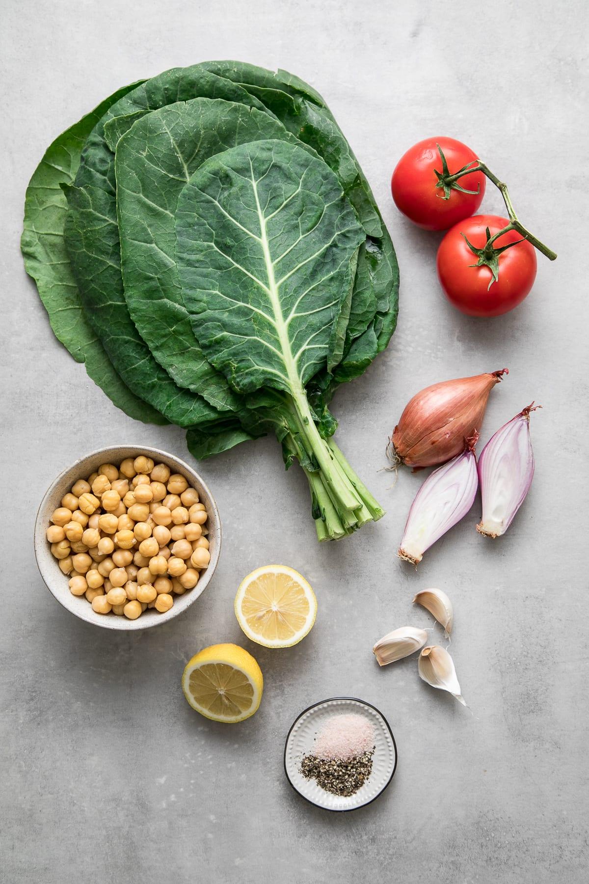 top down view of ingredients used to make vegan collard greens recipe.