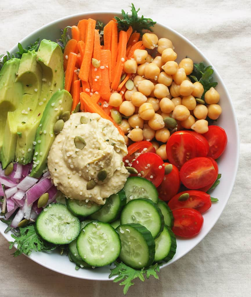 Everyday Nourish Bowl in a white bowl, ready to eat