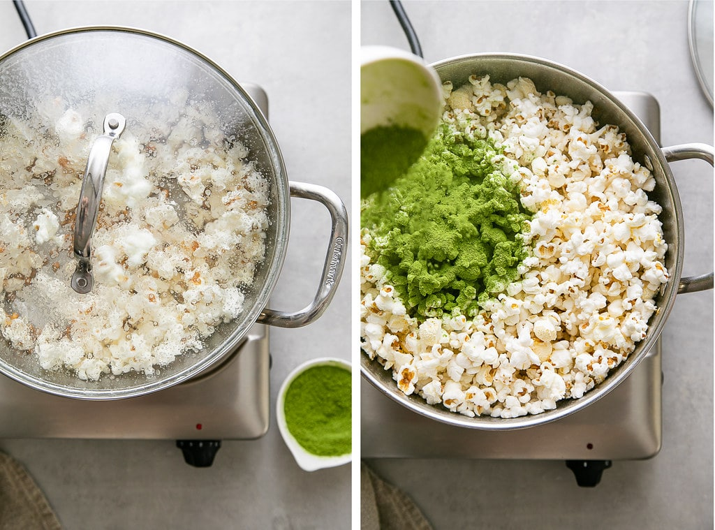 side by side photos showing the process of making green matcha popcorn on the stovetop.