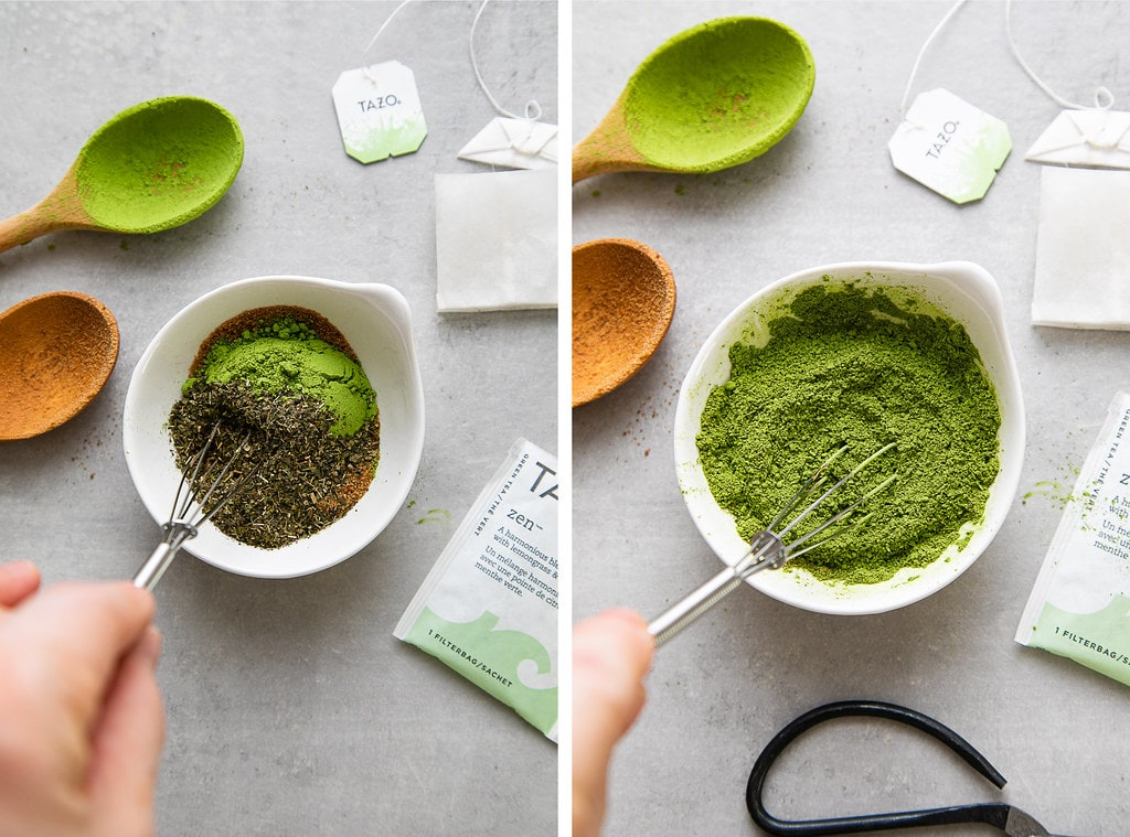 side by side photos showing the mixing of green matcha tea, sugar and zen tea bag ingredients in a small bowl.