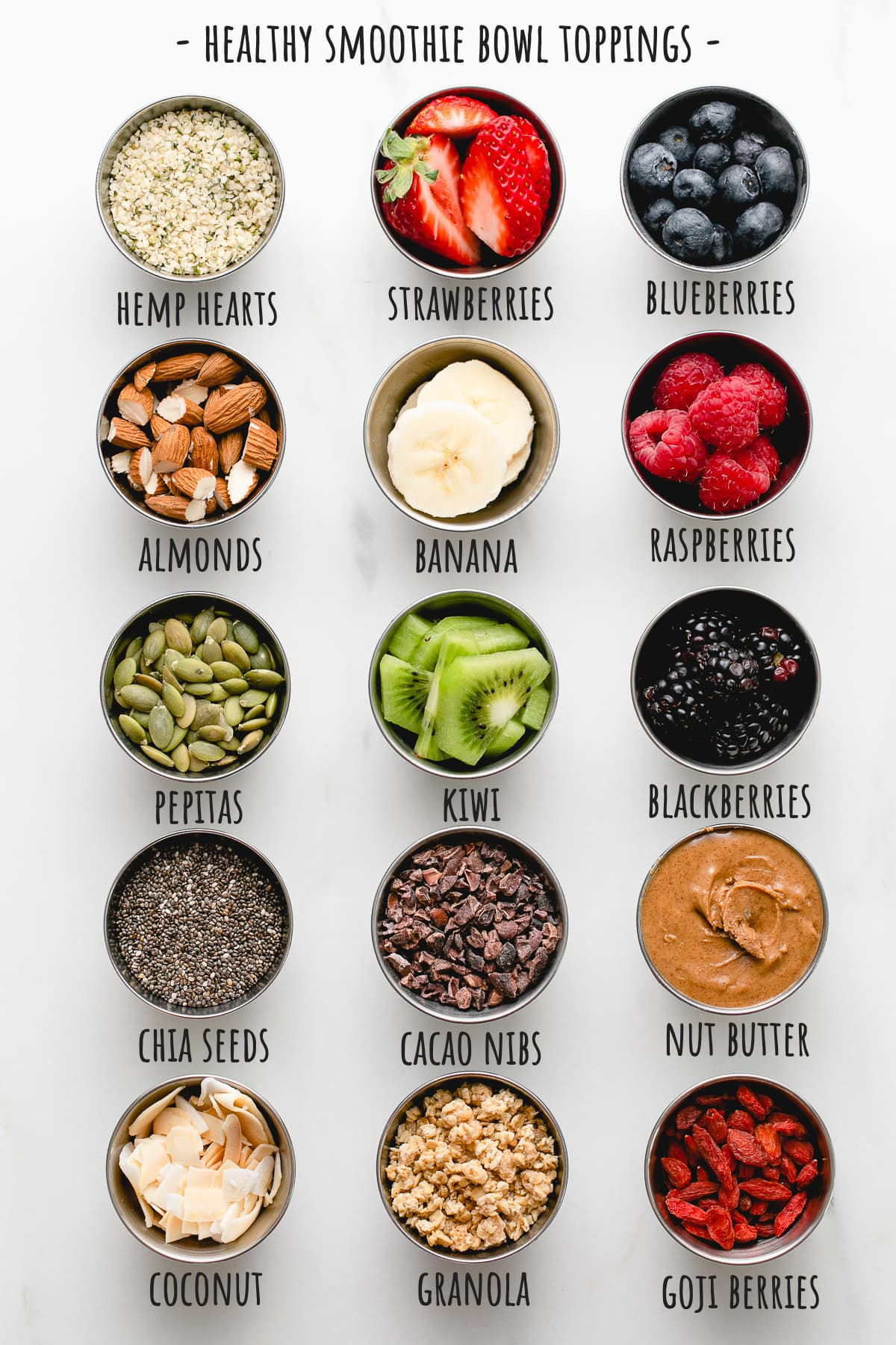 top down view of healthy smoothie bowl toppings.