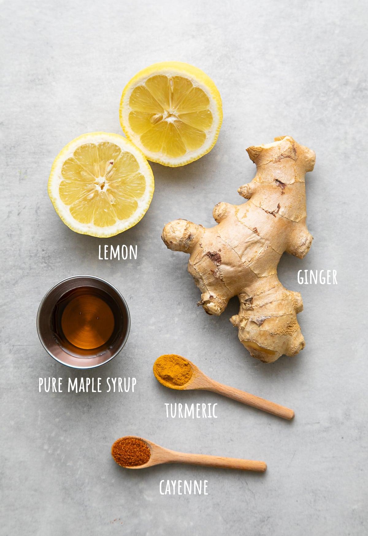 top down view of ingredients used to make lemon ginger detox tea recipe.