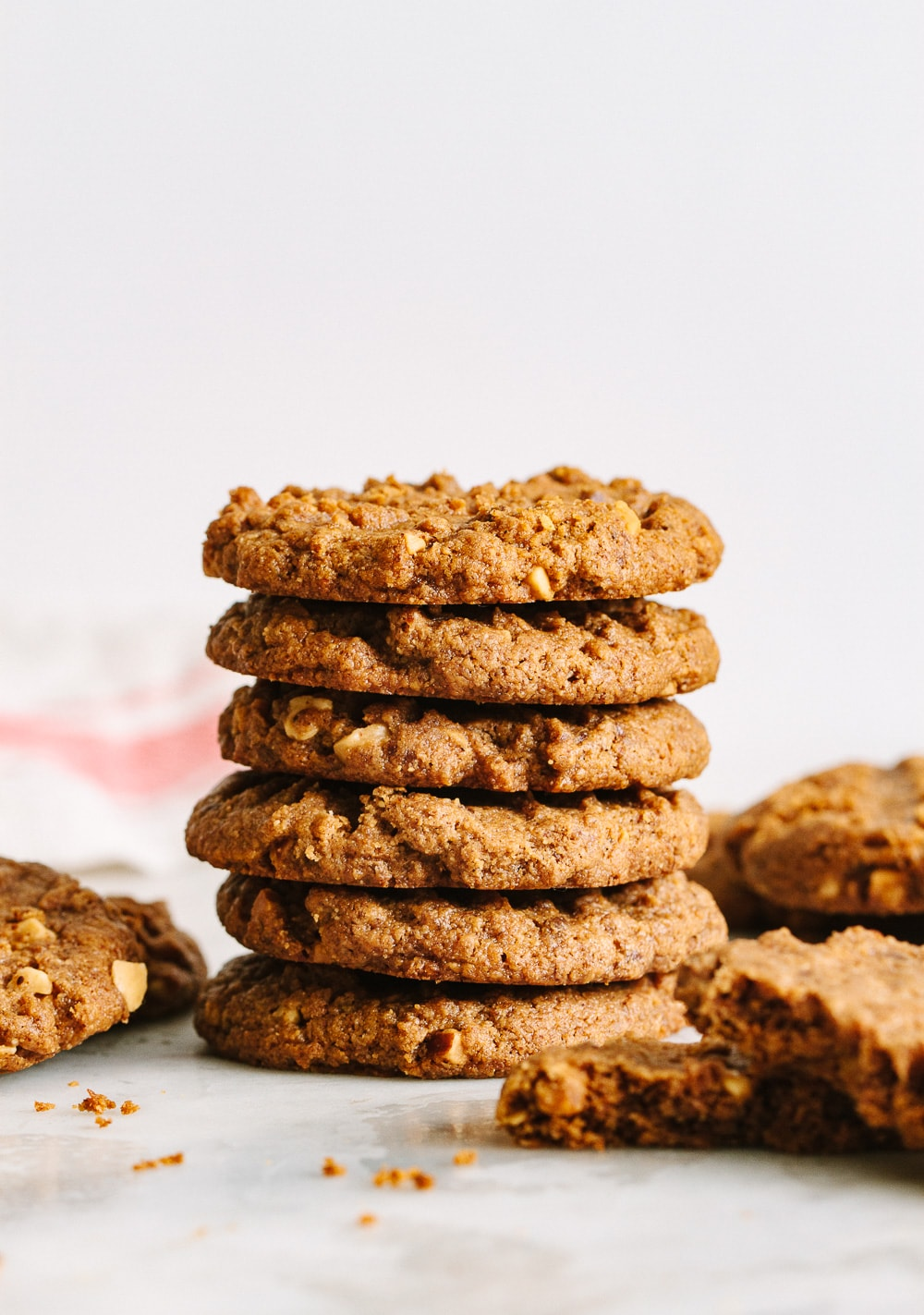 head on view of stacked healthy almond butter cookies.