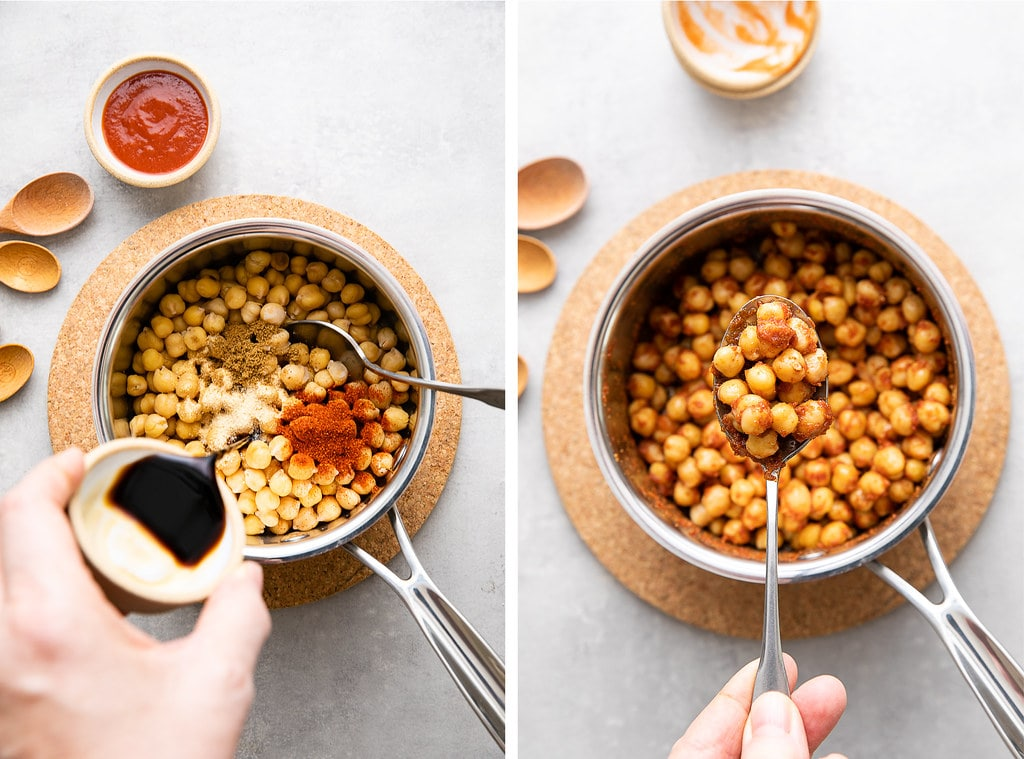 side by side photos showing the process of making buffalo chickpeas in a sauce pan.
