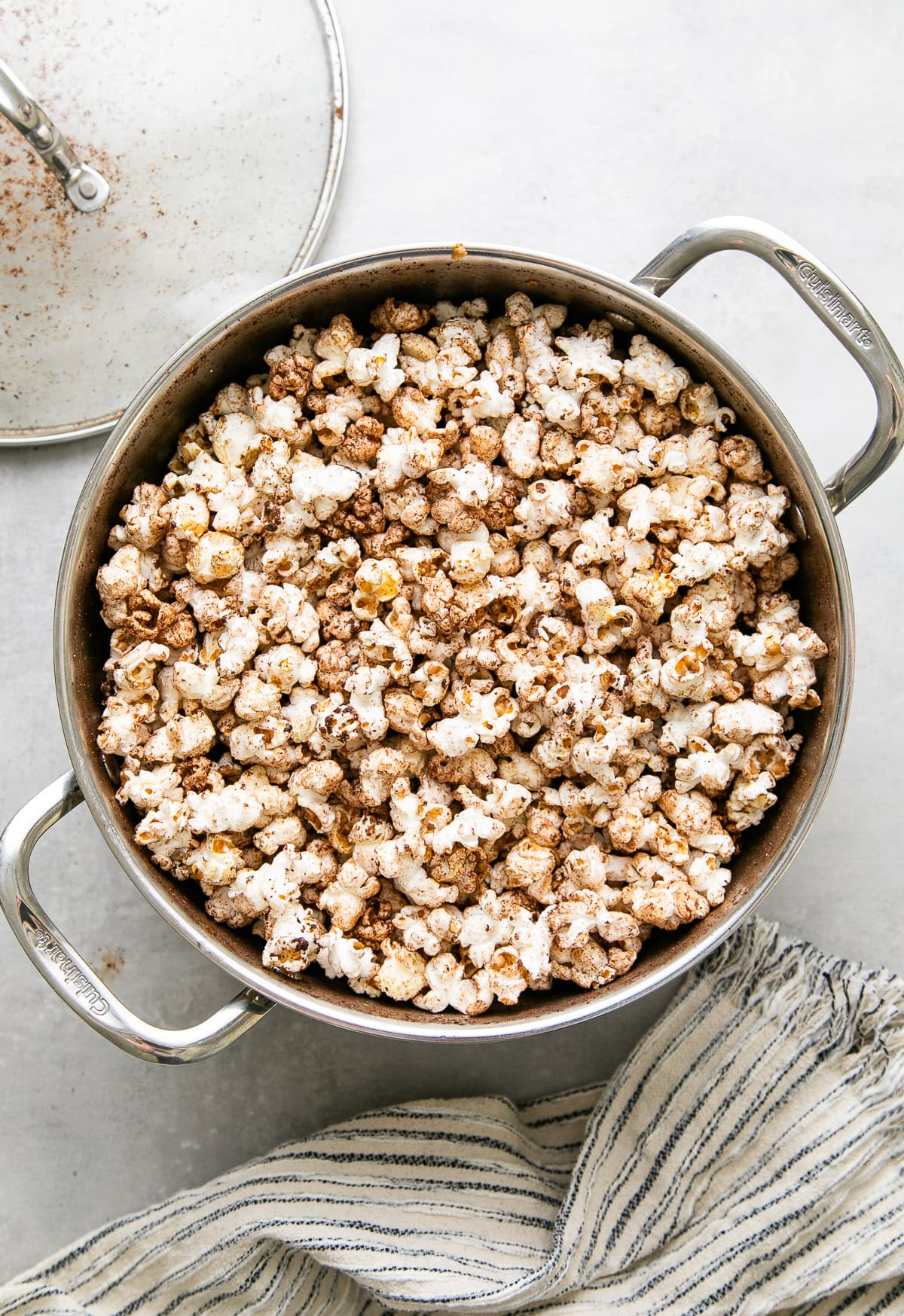 top down view of pot with freshly made chocolate chai stovetop popcorn.