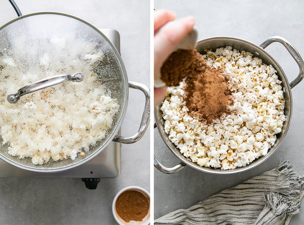 side by side photos showing the process of making chocolate popcorn on the stovetop.