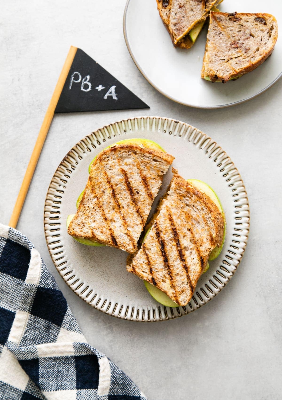 top down view of the best grilled peanut butter apple sandwiches.