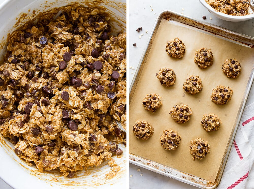 side by side photo showing the process of making vegan oatmeal chocolate chip cookies.