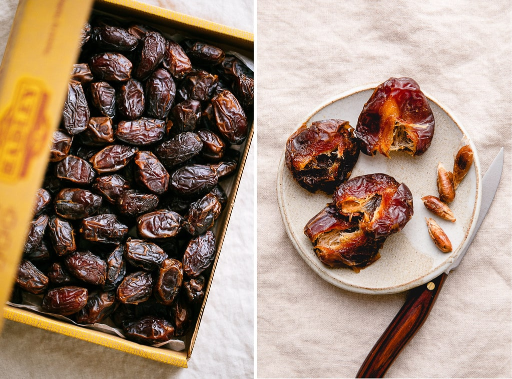 side by side photos of dates in a box and pitted on a plate.