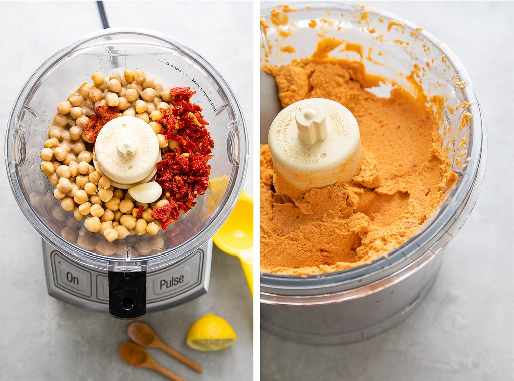 side by side photos showing the process of making sun-dried tomato hummus in food processor.