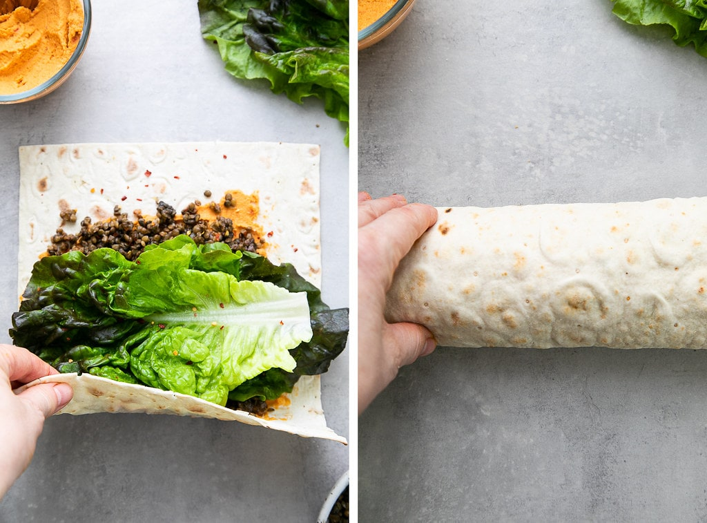 side by side photos showing the process of making and rolling a lentil wrap.