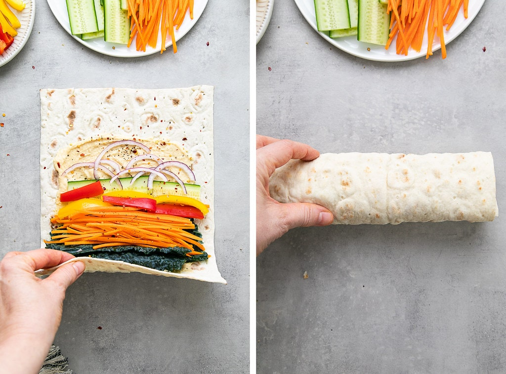 side by side photos showing the process of rolling hummus veggie wraps.