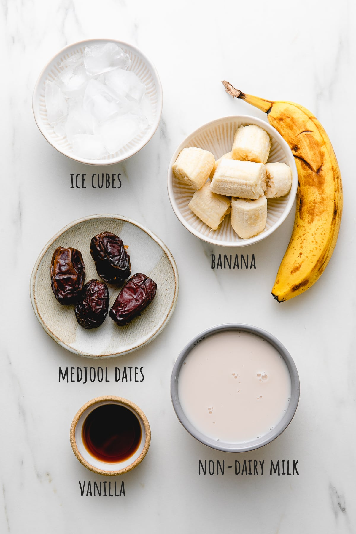 top down view of ingredients used for healthy date smoothie recipe.