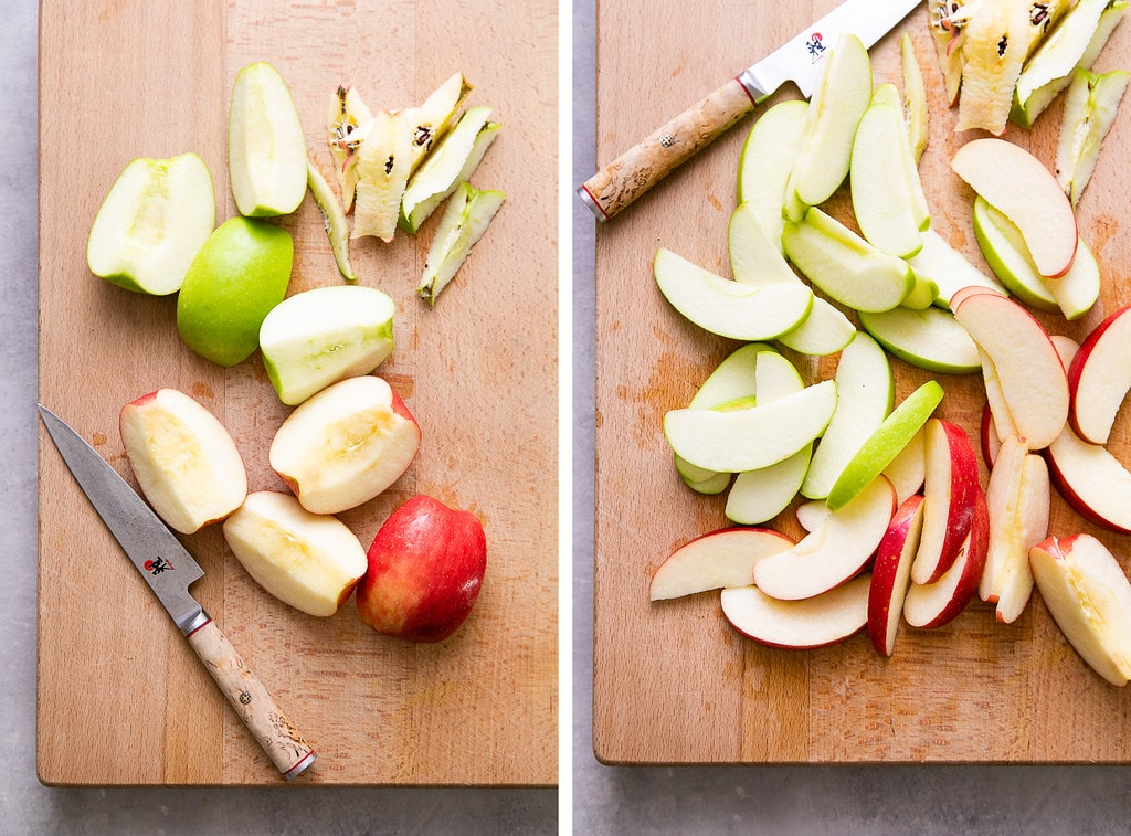 side by side photos showing the process of prepping apples.