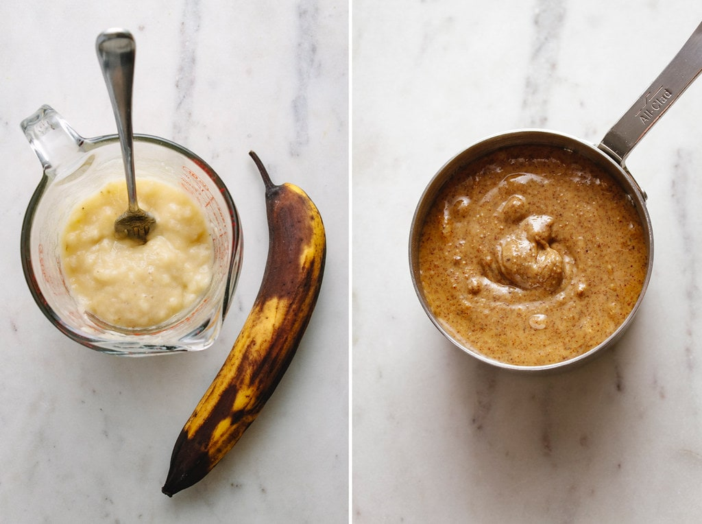 side by side photos of mashed bananas and almond butter.