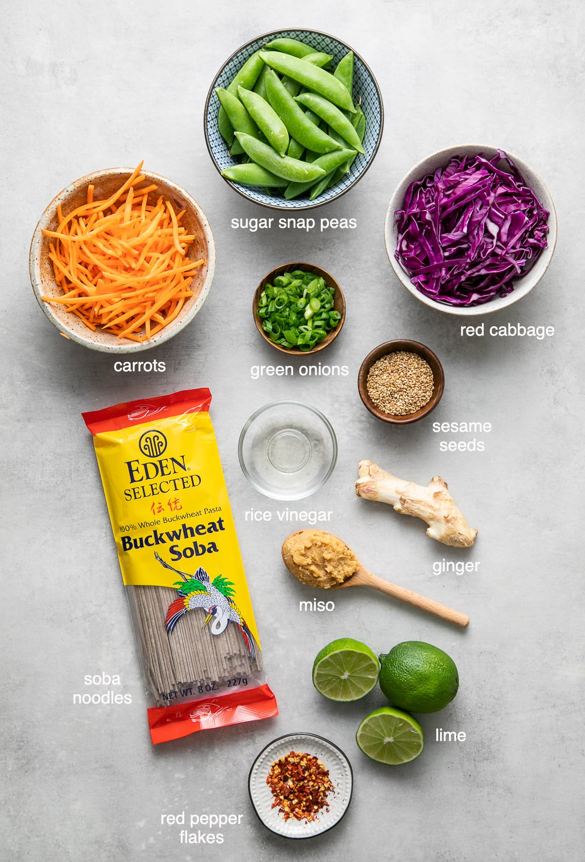 top down view of ingredients used to make soba noodle bowl.