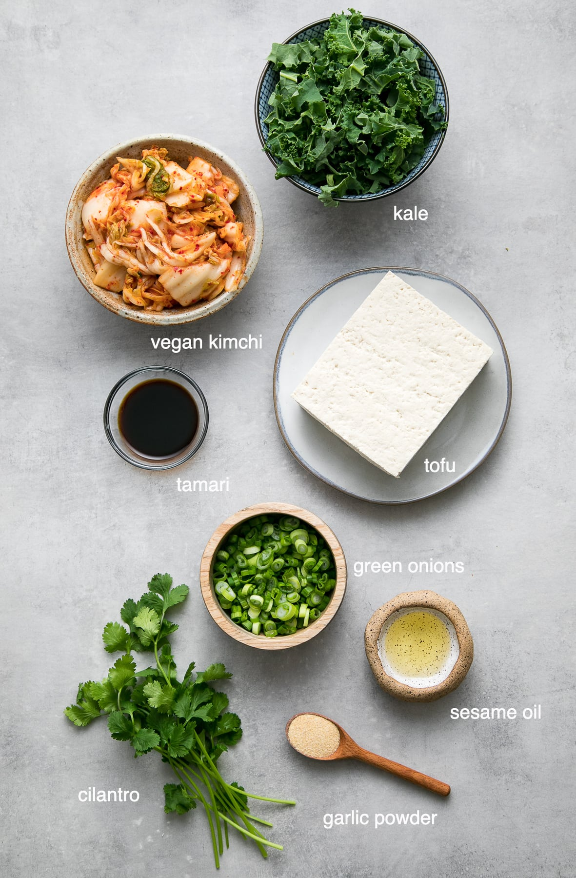 top down view of ingredients used to make the best kimchi tofu scramble.