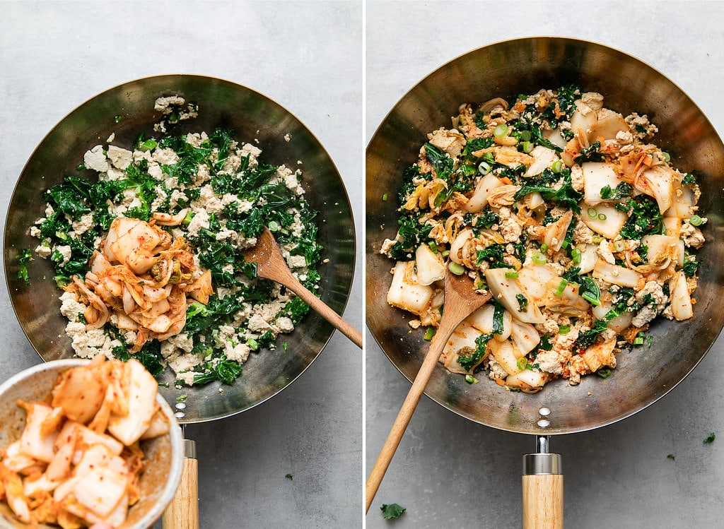 side by side photos showing the process of making kimchi tofu scramble.