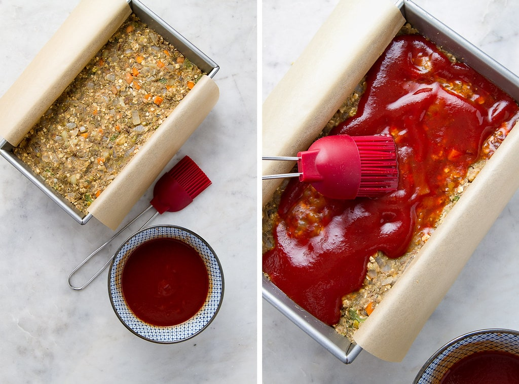 side by side photos showing the process of topping lentil loaf with glaze.